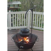 Backyard Fire Pit Cooker with Kettle Hook