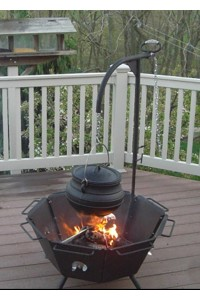Backyard Fire Pit Cooker with Kettle Hook Potjie Pots Cast Iron Cookware Cast Iron Cooking Pots, Potjie Pots, Cauldrons, Large Stew Pots, Camping Gear