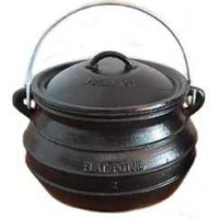 Potjie Cast Iron Flat Pot - 2 Quart Size 1/2