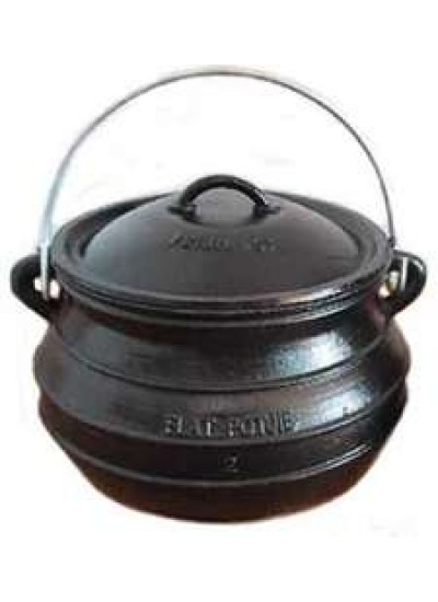Potjie Cast Iron Flat Pot - 2 Quart Size 1/2 at Potjie Pots Cast Iron Cookware, Cast Iron Cooking Pots, Potjie Pots, Cauldrons, Large Stew Pots, Camping Gear